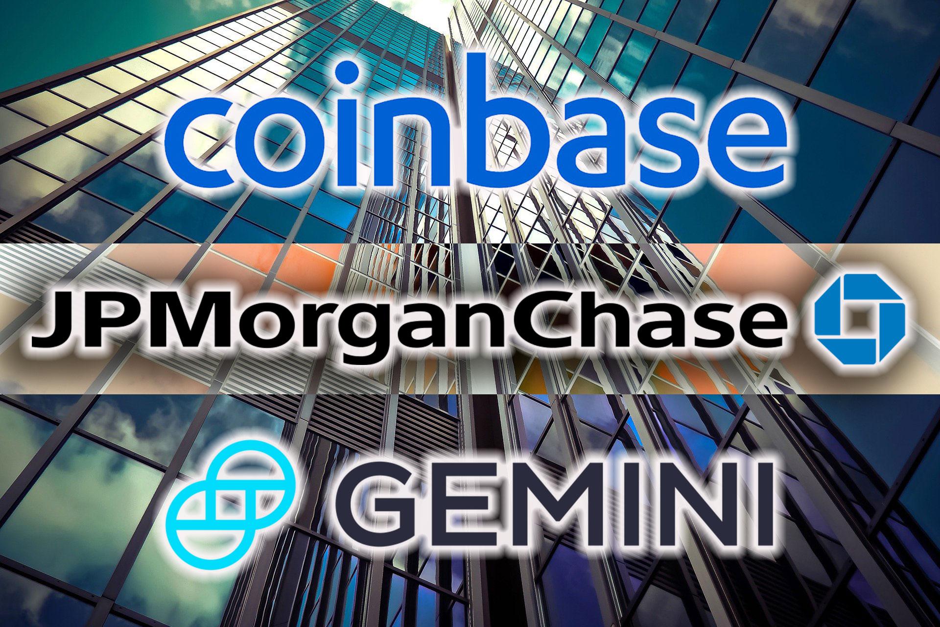 JPモルガンが仮想通貨取引所CoinbaseとGeminiに銀行サービスを提供か